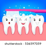 happy cute cartoon tooth with...   Shutterstock .eps vector #536597059