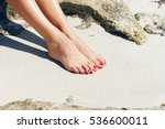 pretty woman feet with red... | Shutterstock . vector #536600011