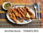 grilled tiger prawns in a... | Shutterstock . vector #536601301