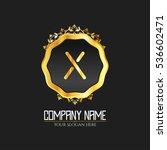 x letter logo  golden monogram... | Shutterstock .eps vector #536602471
