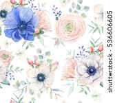 elegant watercolor seamless... | Shutterstock . vector #536606605