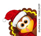 cartoon turkey in a santa hat... | Shutterstock .eps vector #536613439