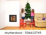children and christmas tree in...   Shutterstock . vector #536613745