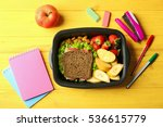 lunch box with food and... | Shutterstock . vector #536615779