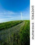 wind turbine on the meadow... | Shutterstock . vector #53662645