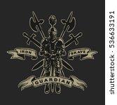 hand drawn knight in armor ... | Shutterstock .eps vector #536633191