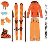 winter equipment kit for ski... | Shutterstock .eps vector #536634019