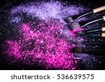 make up brush with pink powder | Shutterstock . vector #536639575