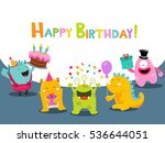 birthday card with cute... | Shutterstock .eps vector #536644051