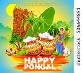 illustration of happy pongal... | Shutterstock .eps vector #536644891
