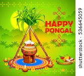 illustration of happy pongal... | Shutterstock .eps vector #536645059