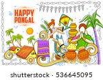 illustration of happy pongal... | Shutterstock .eps vector #536645095