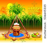 illustration of happy pongal... | Shutterstock .eps vector #536645335