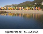 row of brightly colored beach... | Shutterstock . vector #53665102