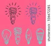 set of hand drawn light bulbs ... | Shutterstock .eps vector #536672281