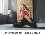 young slim blond woman in yoga... | Shutterstock . vector #536684875