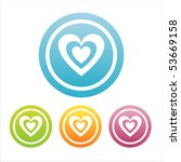 set of 4 colorful hearts signs | Shutterstock .eps vector #53669158