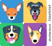 set dog icon flat design  bull... | Shutterstock . vector #536696569
