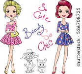 cute beautiful fashion girls in ... | Shutterstock . vector #536708725