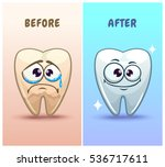 funny cartoon teeth characters... | Shutterstock .eps vector #536717611