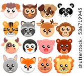 Cute Cartoon Animals Head Roun...