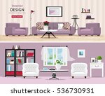 cute rooms set  cozy classic... | Shutterstock .eps vector #536730931