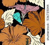 hibiscus vector pattern on a... | Shutterstock .eps vector #536735044