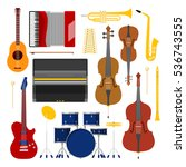 music instruments set icons... | Shutterstock .eps vector #536743555