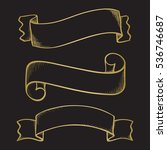 hand drawn sketch ribbons  gold ... | Shutterstock .eps vector #536746687
