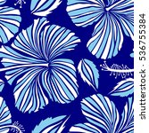 pretty blue and white floral... | Shutterstock .eps vector #536755384