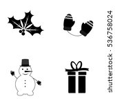 set christmas icons  flat...