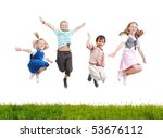 happy acrobatic girl on meadow | Shutterstock . vector #53676112
