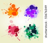 Colored Paint Splats Backgroun...
