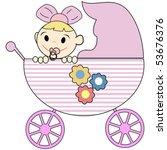 cute baby girl in stroller   Shutterstock .eps vector #53676376