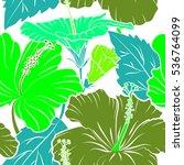 various hibiscus hawaiian... | Shutterstock .eps vector #536764099
