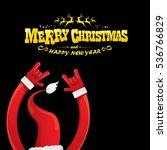 vector santa claus hand rock n... | Shutterstock .eps vector #536766829
