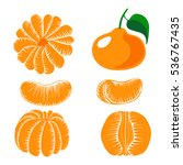 collection of peeled tangerine... | Shutterstock .eps vector #536767435