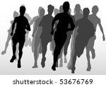 vector drawing running athlete...   Shutterstock .eps vector #53676769