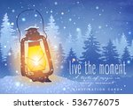 amazing vintage lantern on snow ... | Shutterstock .eps vector #536776075