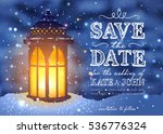 amazing vintage lantern on snow ... | Shutterstock .eps vector #536776324
