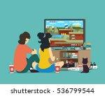 Boy And Girl Playing Tv Game....