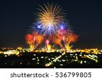 beautiful firework display for... | Shutterstock . vector #536799805
