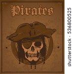 pirate head skull postcard ... | Shutterstock .eps vector #536800525