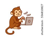 monkey typing on computer ... | Shutterstock .eps vector #536810827