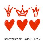 vector set of hand drawn hearts ... | Shutterstock .eps vector #536824759