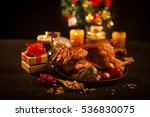 roasted chicken with table... | Shutterstock . vector #536830075