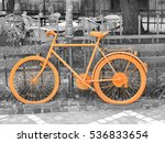 b w photo of old orange bike on ... | Shutterstock . vector #536833654