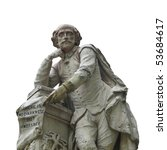 Small photo of Statue of William Shakespeare (year 1874) in Leicester square, London, UK - isolated over white background