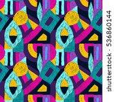 geometric pop art pattern.... | Shutterstock .eps vector #536860144