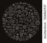 tea sweets bakery cute doodles... | Shutterstock .eps vector #536862937